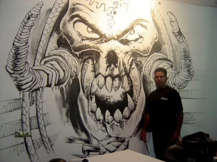 Wall graffiti in delhi wall painting airbrush painting for Tattoo classes online free